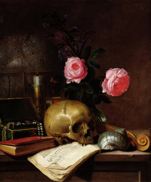 Wall Art - Photograph - Still Life With A Skull Oil On Canvas by Letellier