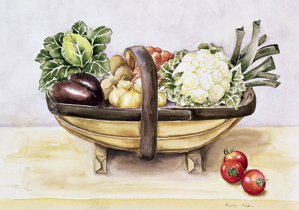 Diet Painting - Still Life With A Trug Of Vegetables by Alison Cooper