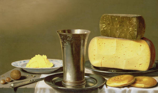 Butter Painting - Still Life With Beaker Cheese Butter And Biscuits by Floris van Schooten
