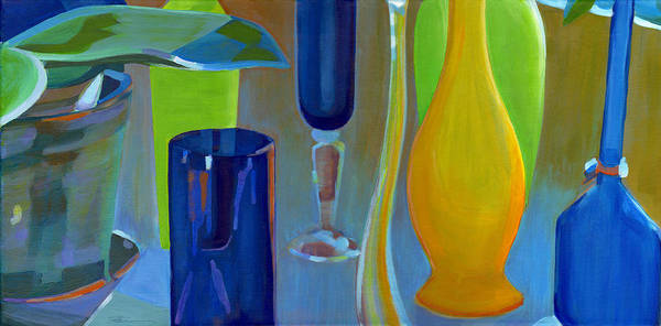 Painting - Still Life With Blue Green And Yellow  by Tanya Filichkin
