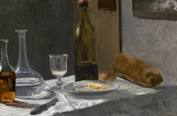 Bread And Wine Painting - Still Life With Bottle Carafe Bread And Wine by Claude Monet