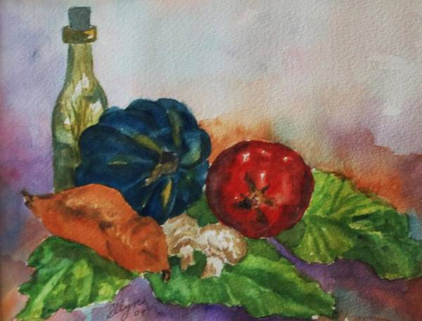 Olive Oil Painting - Still Life With Bottle by Ellen Levinson