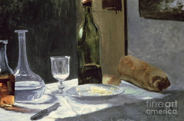 Bread And Wine Painting - Still Life With Bottles by Claude Monet