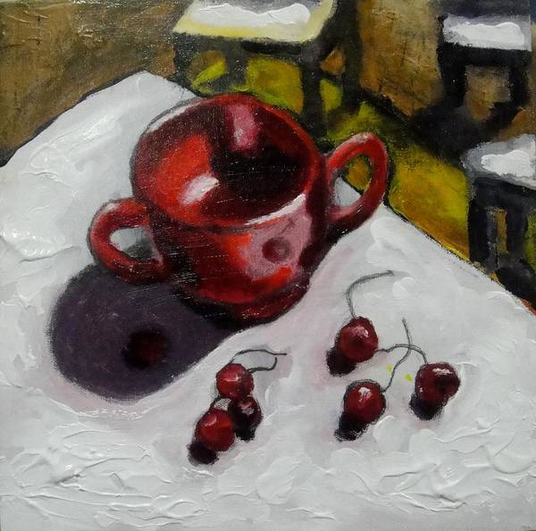 Painting - Still Life With Cherries by Dilip Sheth
