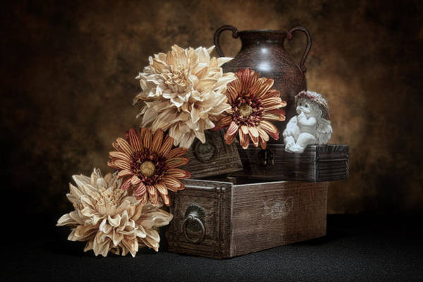 Floral Arrangement Photograph - Still Life With Cherub by Tom Mc Nemar