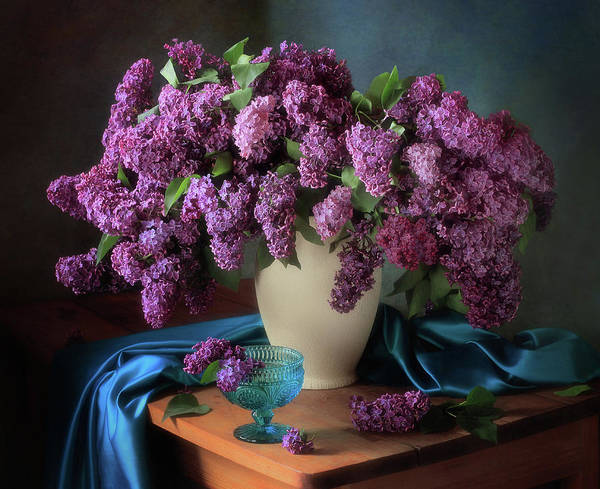 Flower Vase Photograph - Still Life With Fragrant Lilac by ??????? ????????