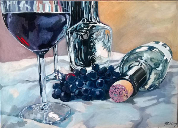 Painting - Still Life With Grape Wine And Bottles. by Lorand Sipos