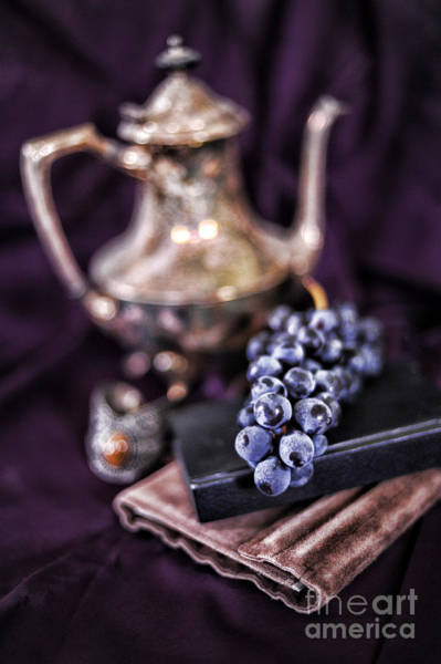 Purple Grapes Photograph - Still Life With Grapes And Silver Teapot by HD Connelly