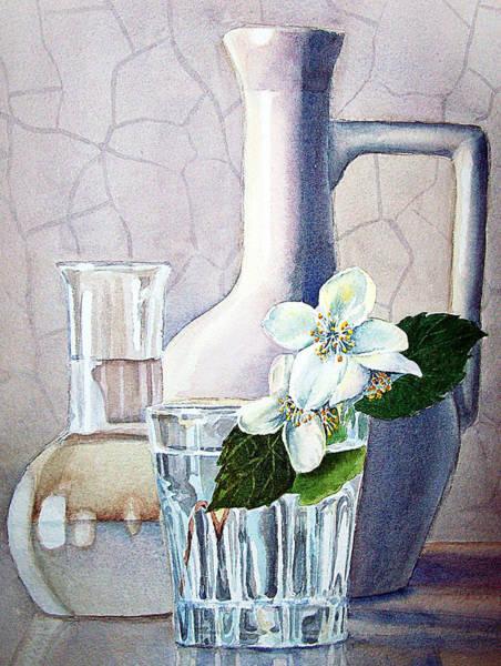 Ceramics Wall Art - Painting - Still Life With Jasmine by Irina Sztukowski