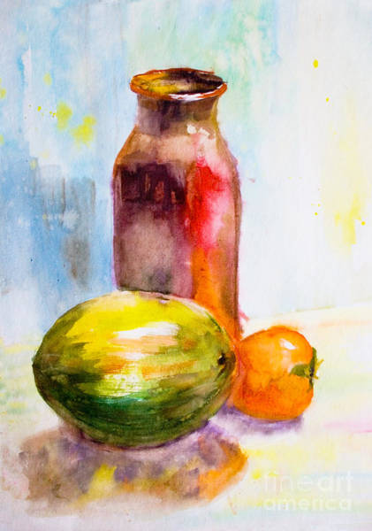 Persimmon Painting - Still Life With Jug And Fruit by Regina Jershova