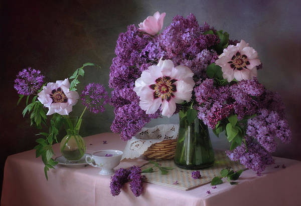 Wall Art - Photograph - Still Life With Lilac And Peonies by ??????? ????????