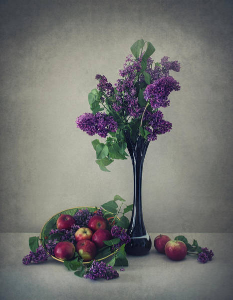 Flower Vase Photograph - Still Life With Lilac by Dimitar Lazarov -