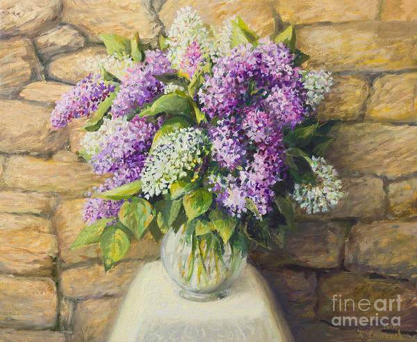 Wall Art - Painting - Still Life With Lilacs by Kiril Stanchev