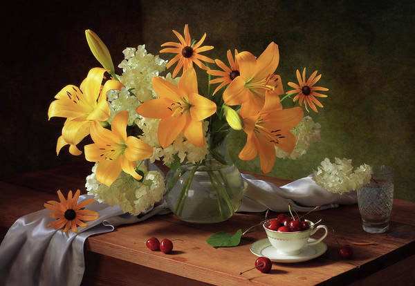 Cherry Photograph - Still Life With Lilies by ??????????? ??????????