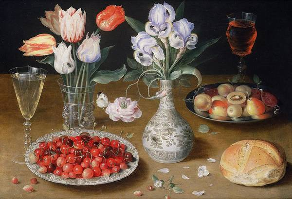 Bread And Wine Painting - Still Life With Lilies, Roses, Tulips, Cherries And Wild Strawberries by Osias the Elder Beert