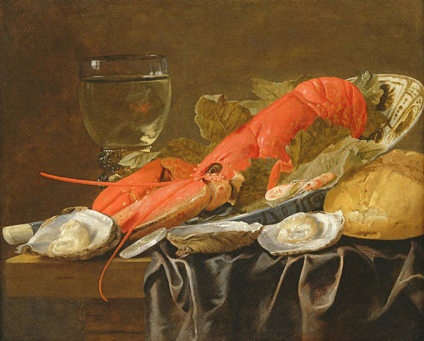 Platter Photograph - Still Life With Lobster, Shrimp, Roemer, Oysters And Bread Oil On Copper by Christiaan Luykx or Luycks