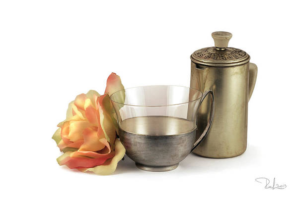 Photograph - Still Life With Old Cup Rose And Coffe Pot by Raffaella Lunelli