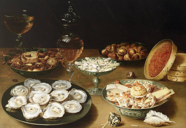 Bread And Wine Painting - Still Life With Oysters by Osias the Elder Beert