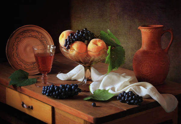 Wall Art - Photograph - Still Life With Peaches And Grapes by ??????????? ??????????