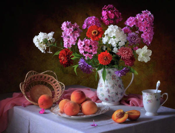 Peach Flower Wall Art - Photograph - Still Life With Summer Bouquet And Peaches by ??????????? ??????????