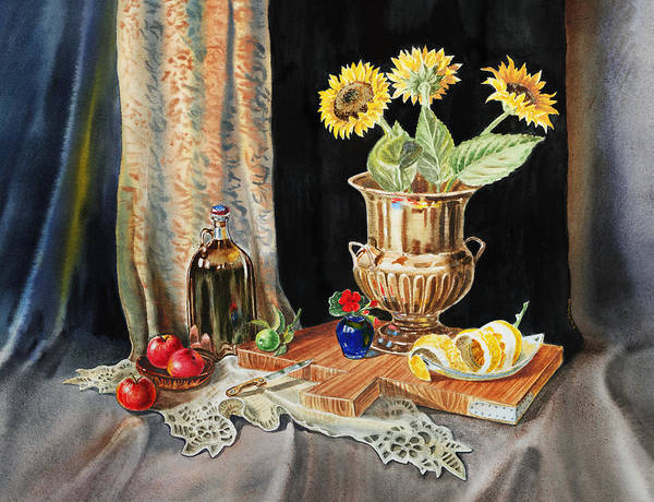 Red Geraniums Wall Art - Painting - Still Life With Sunflowers Lemon Apples And Geranium  by Irina Sztukowski