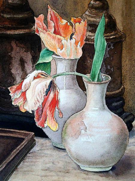 Tulip Bloom Painting - Still Life With Tulips by Irina Sztukowski