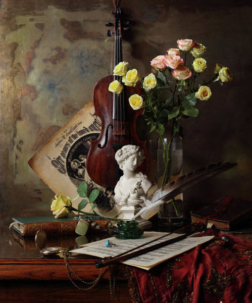 Wall Art - Photograph - Still Life With Violin And Bust by Andrey Morozov
