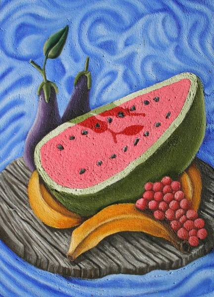 Wall Art - Painting - Still Life With Watermellon by Don Martinelli