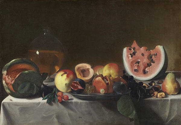 Melon Painting - Still Life With Watermelons And Carafe Of White Wine by Carlo Saraceni