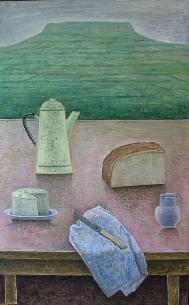Wall Art - Photograph - Still Life With Wensleydale Cheese, 2013, Oil On Panel by Ruth Addinall