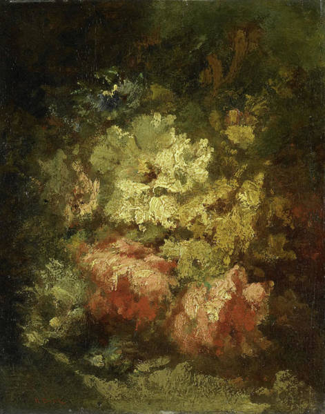 Wall Art - Painting - Still Life With White And Red Roses, Narcisse Virgile Diaz by Litz Collection