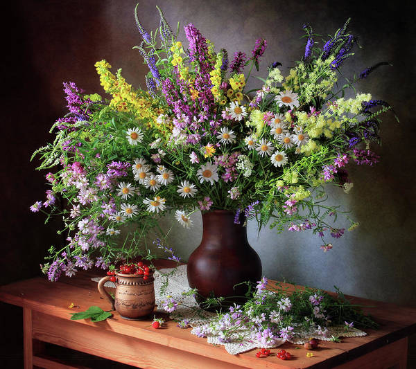 Vases Photograph - Still Life With Wildflowers And Berries by ??????????? ??????????