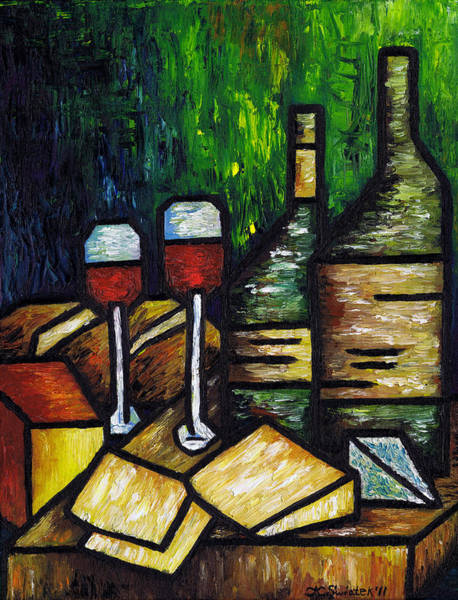 Bread And Wine Painting - Still Life With Wine And Cheese by Kamil Swiatek