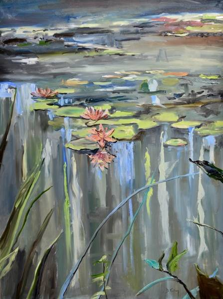 Lilly Pad Wall Art - Painting - Still Waters by Donna Tuten