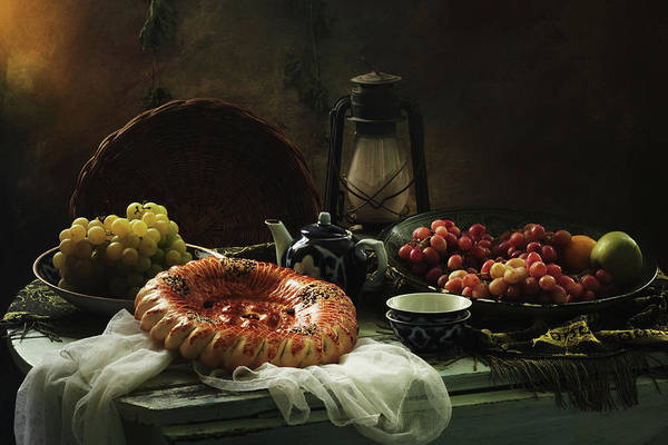 Indoor Photograph - Stilllife  With Cake And Grapes by Ustinagreen