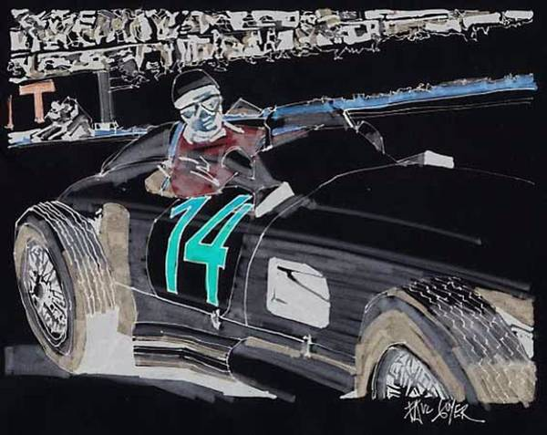 Wall Art - Painting - Stirling Moss Mercedes Benz 1955 Grand Prix Of Belgium by Paul Guyer