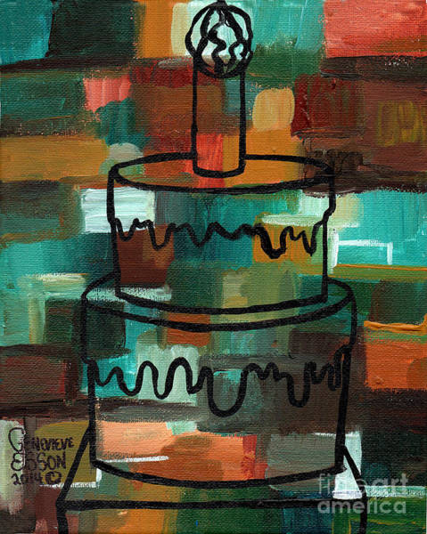Icing Painting - Stl250 Birthday Cake Earth Tones Abstract by Genevieve Esson