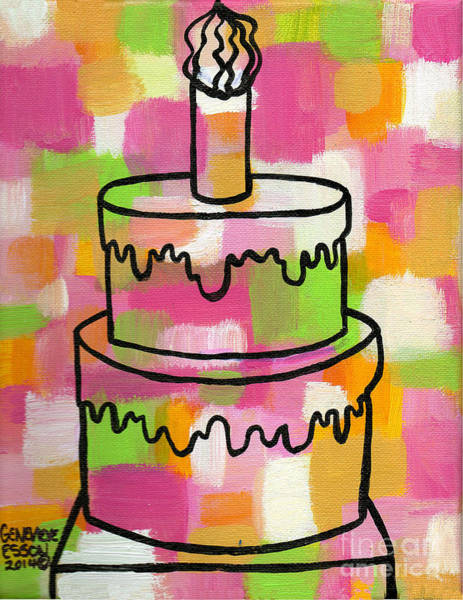 Icing Painting - Stl250 Birthday Cake Pink And Green Abstract by Genevieve Esson