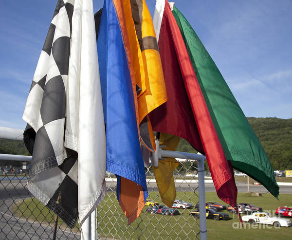 Photograph - Stock Car Racing Flags by Jim West