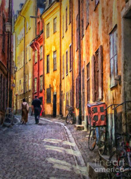 Narrow Street Painting - Stockholm Gamla Stan Painting by Antony McAulay