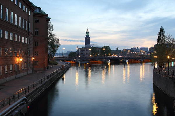 Stockholm Vasabron And The City Hall By Night Art Print by Pejft