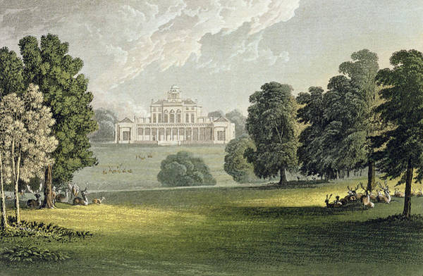 Exterior Painting - Stoke Park, From Ackermanns Repository by John Gendall