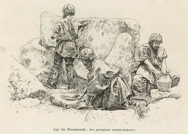 Wall Art - Drawing - Stone Age Builders          Date Circa by Mary Evans Picture Library