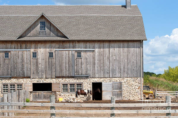 Photograph - Stone And Wood Barn by Lula Adams