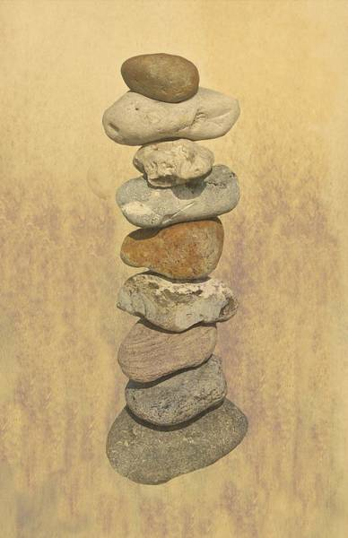 Balancing Rocks Photograph - Stone Balancing Textured Print by David Dehner
