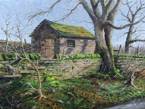 Abode Photograph - Stone Barn, Alport, Derbyshire, 2009 Oil On Canvas by Trevor Neal