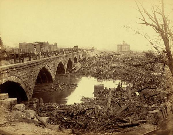 Wall Art - Photograph - Stone Bridge After Johnstown Flood by Library Of Congress/science Photo Library