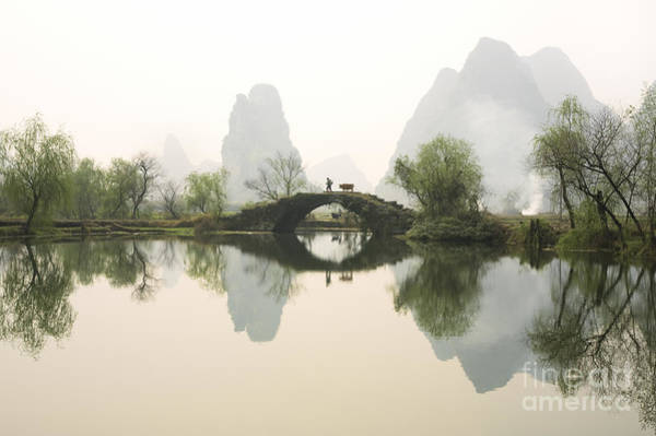 Asian Photograph - Stone Bridge In Guangxi Province China by King Wu