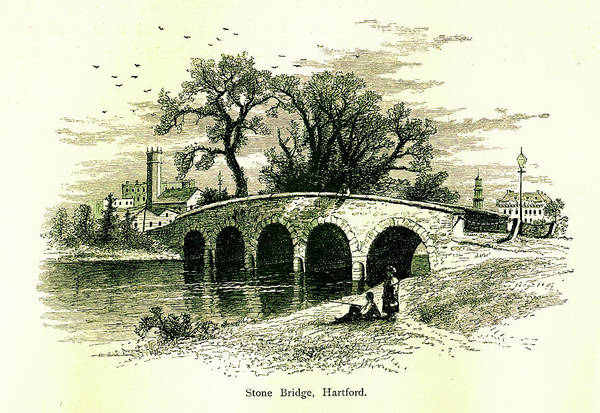Old Town Digital Art - Stone Bridge In Hartford, Connecticut by Nicoolay