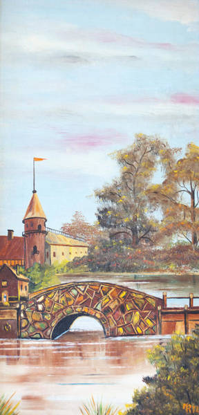 Painting - Stone Bridge Over Water By Merlin Reynolds by Fran Riley